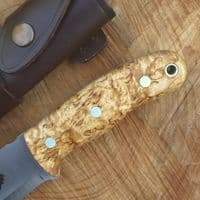 TBS Grizzly Bushcraft Survival Knife - DC4 & Firesteel Edition - Curly Birch